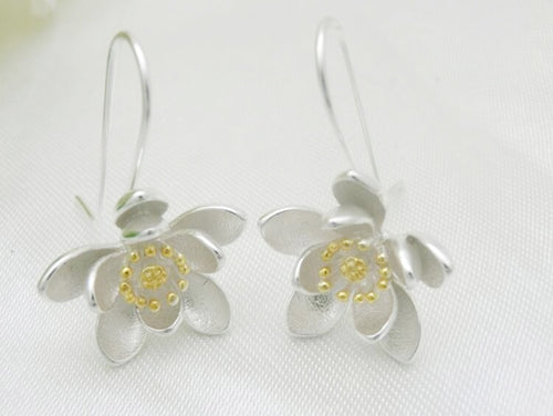Sterling Silver Lotus Flower Drop Earring