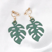 Load image into Gallery viewer, Sage Green Leaf Clip On Earrings