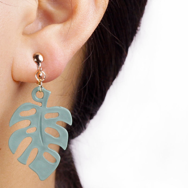 Sage Green Leaf Clip On Earrings