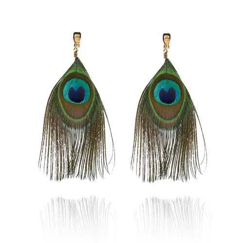 Long Feather Clip On Earrings