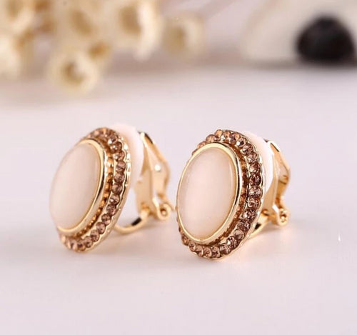 Cream Round Clip On Earrings
