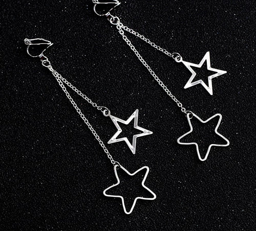 Long Dangle Star Clip On Earrings