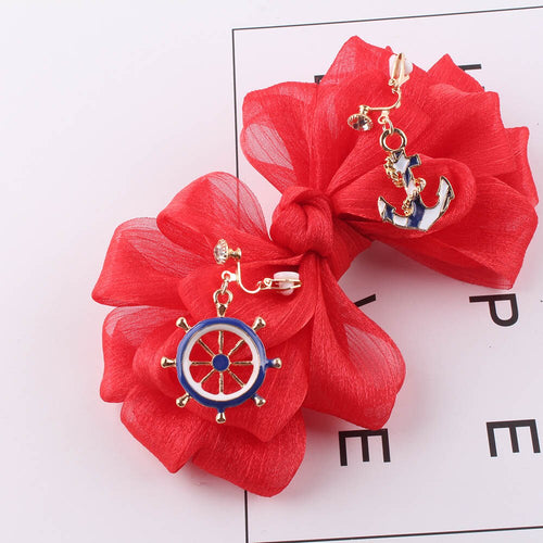 Anchor & Wheel Clip On Earrings