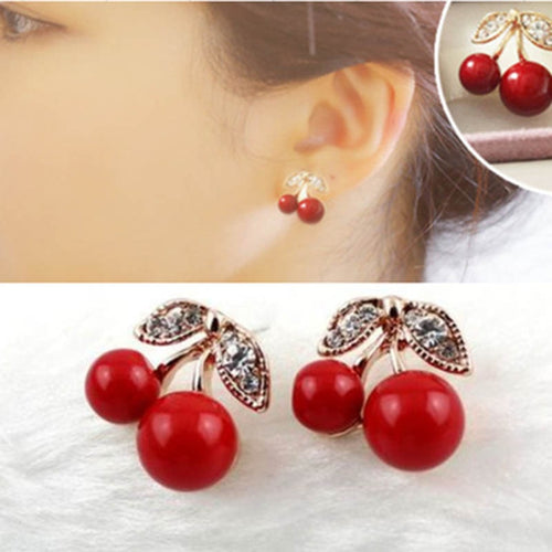 Cherry Drop Clip On Earrings