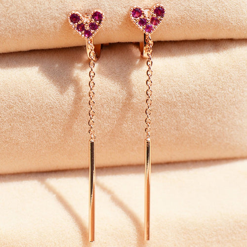Heart Long Drop Clip On Earrings