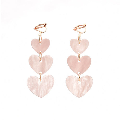 Trio Heart Dangle Clip On Earrings