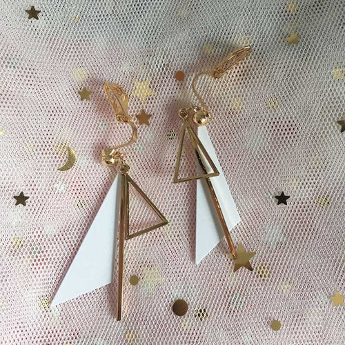 Geometric Clip On Earrings