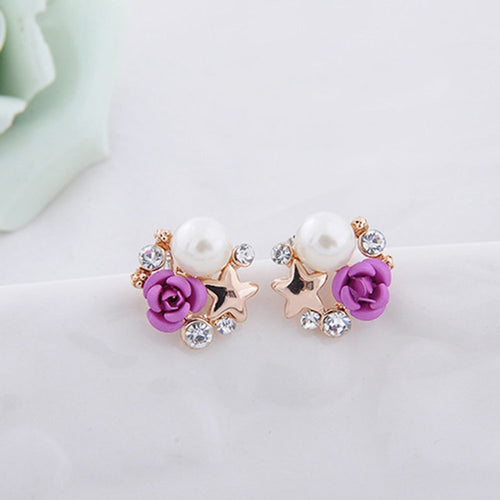 Purple Rose & Star Clip On Earrings