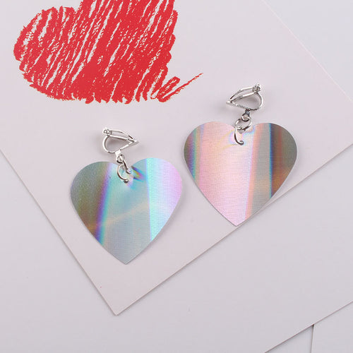 Holographic Heart Clip On Earrings