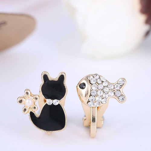 Cat & Fish Clip On Earrings