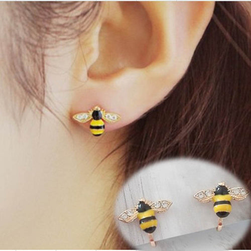 Cute Bee Clip On Earrings