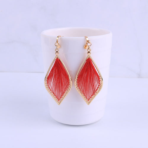 Boho Thread Water Drop Clip On Earrings