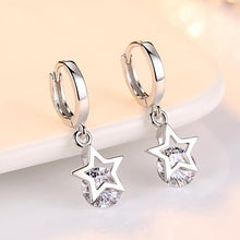Load image into Gallery viewer, 925 Sterling Silver Crystal Star Earrings