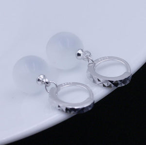 Silver Plated Moon Stone Earrings