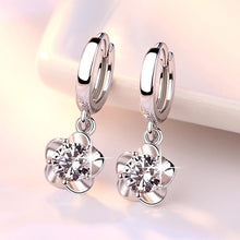 Load image into Gallery viewer, 925 Silver Flower Drop Earrings