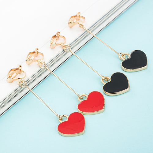 Red / Black Heart Drop Clip On Earrings