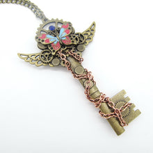 Load image into Gallery viewer, Steampunk Colourful Butterfly & Key Necklace