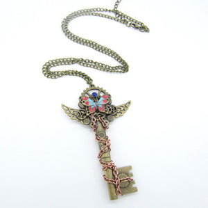 Steampunk Colourful Butterfly & Key Necklace