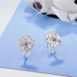 925 Flower Clip On Earrings