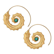 Load image into Gallery viewer, Boho Spiral Leaf Earrings