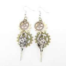 Load image into Gallery viewer, Steampunk Phoenix Head and Multi Gears Earrings