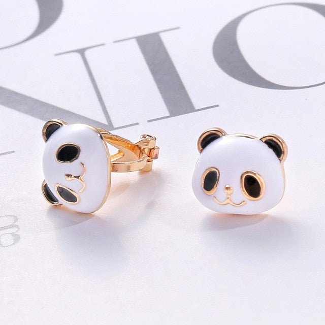 Cute Panda Clip On Earrings