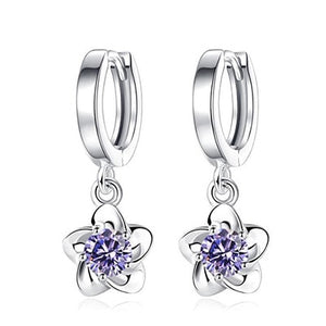 925 Silver Flower Drop Earrings