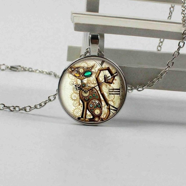 Steampunk Cat Clock Necklace