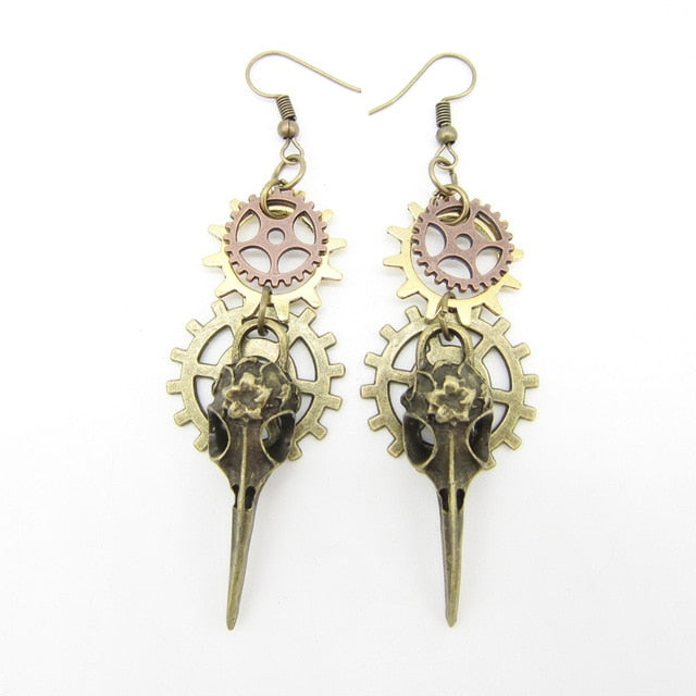 Steampunk Phoenix Head and Multi Gears Earrings