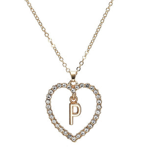 Initial Inside of Heart Necklace