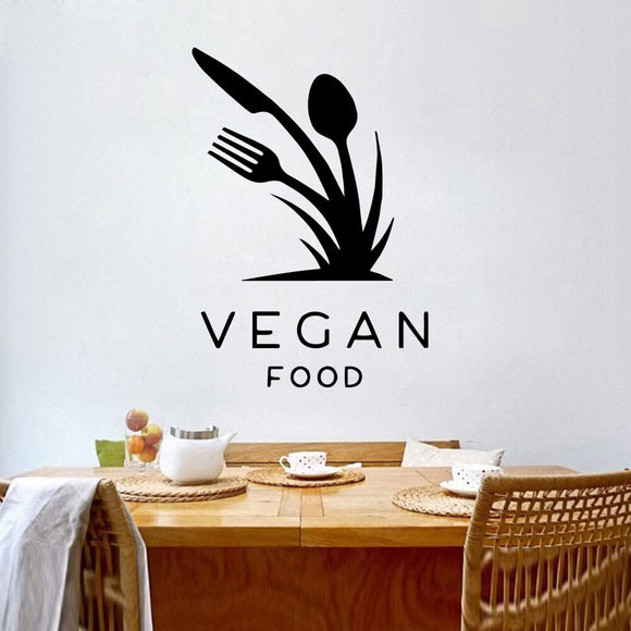 Vegan Food Utensils Wall Decal - Multiple Colors - 30cm X 43cm