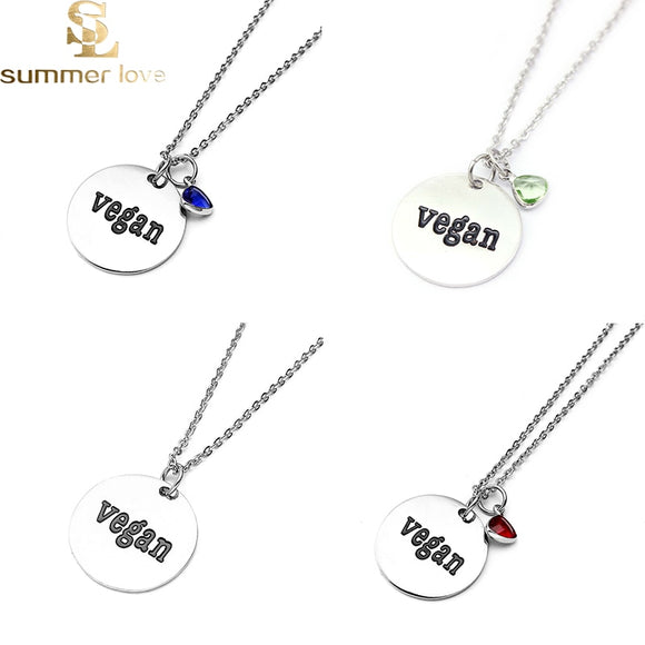 Stainless Steel Chain Necklace Round Letter Vegan Crystal Pendant Necklace