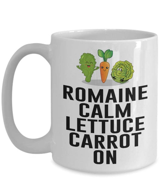 Romaine Calm Lettuce Carrot On Keep Calm Mug Variation 2