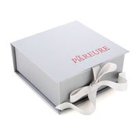 Pareure re-useable gift box with crossgrain ribbon closure