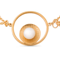 Pareure Grit Series Mantle Wrap 18k Yellow Gold Vermeil Bracelet with a white pearl