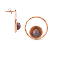 Pareure Grit Series 18k Rose Gold Vermeil Mantle Post Earrings with a peacock pearl - front and side view