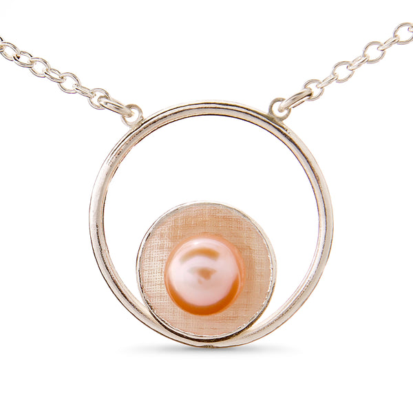 Pareure Grit Series Sterling Silver Mantle Pendant with a peach pearl