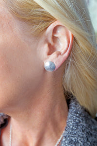 model wearing Pareure 360º Series Sterling Silver Large Stud Earring