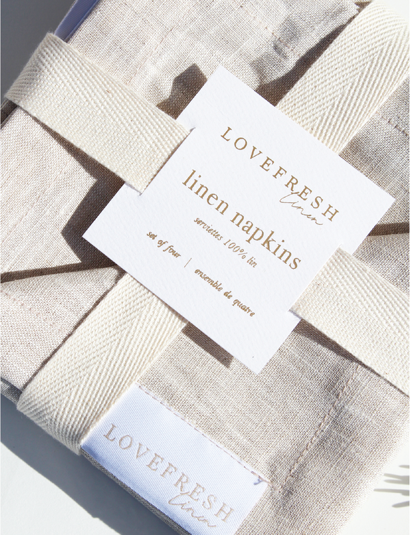 100% Linen Cocktail Napkins - Flax