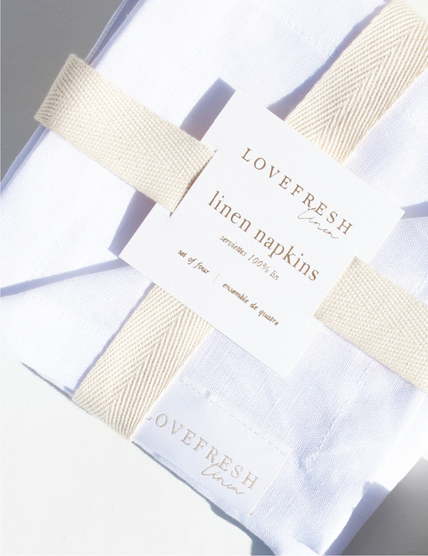 100% Linen Cocktail Napkins - White