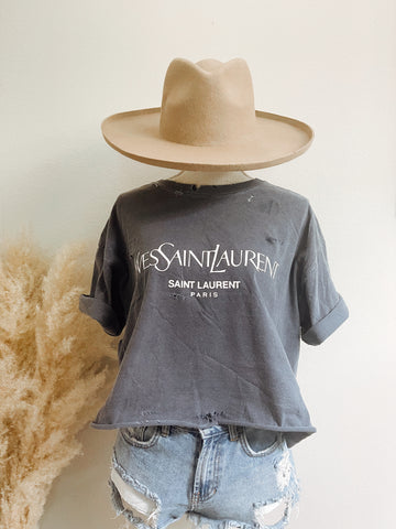 YSL Distressed Tee in Denim