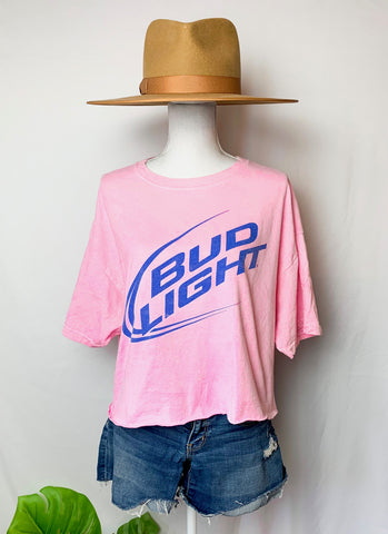 Pink Bud Light Cropped Tee