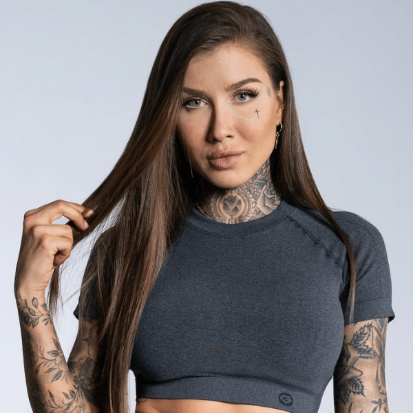 Gym Glamour - Amy Seamless Crop Top (Black/Grey)