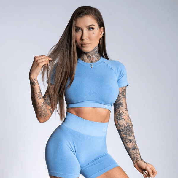 Gym Glamour - Amy Seamless Crop Top (Blue)