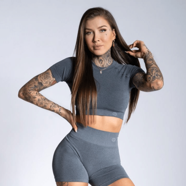 Gym Glamour - Amy Seamless Crop Top (Grey)