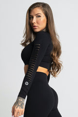 Gym Glamour - Criss Seamless Crop Top (Black)