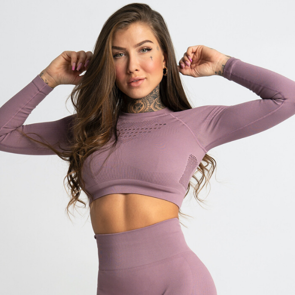 Gym Glamour - Criss Seamless Crop Top (Purple)