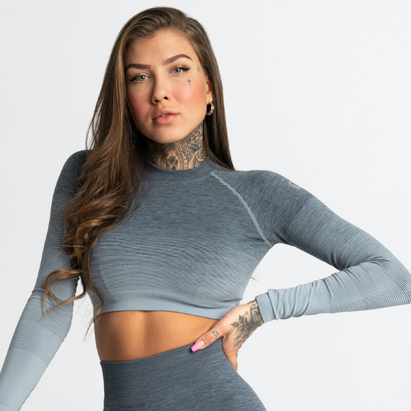 Gym Glamour - Ombre Crop Top (Grey)