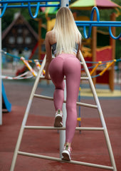 Gym Glamour - High Waist Leggings (Dirty Pink)