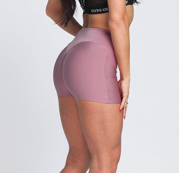 Gym Glamour - High Waist Shorts (Dusty Pink)